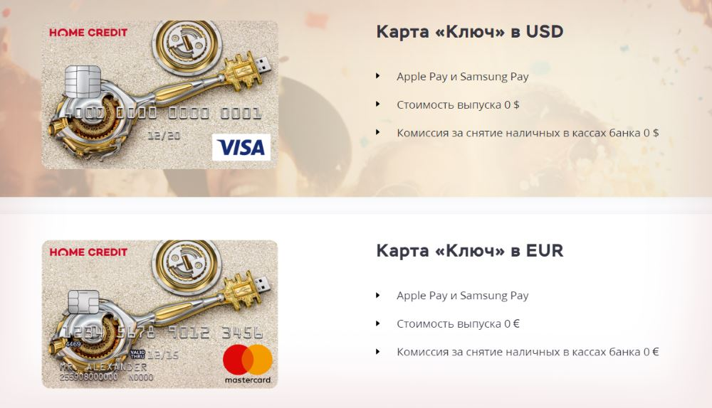 Валютные карты Ключ